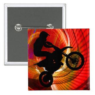 Rayas pálidas del motocrós en un Windtunnel Pin Cuadrada 5 Cm