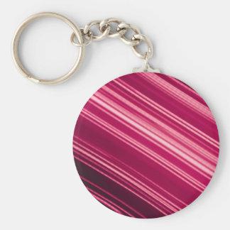 Rayas pálidas rosadas en diagonal llavero redondo tipo pin