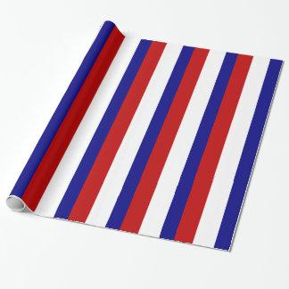 Rayas patrióticas blancas y azules rojas papel de regalo