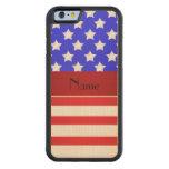 Rayas patrióticas conocidas personalizadas funda de iPhone 6 bumper arce