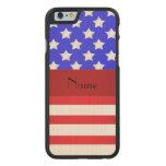 Rayas patrióticas conocidas personalizadas funda de iPhone 6 carved® slim de arce