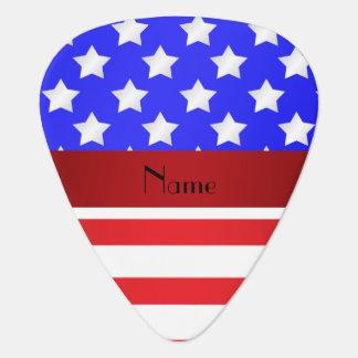 Rayas patrióticas conocidas personalizadas uñeta de guitarra