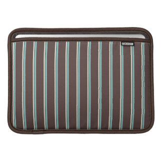 rayas perfectas marrón azul y nata funda macbook air