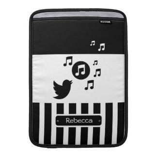 Rayas personalizadas blanco elegante del negro del funda  MacBook