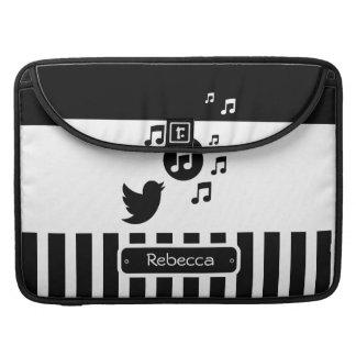 Rayas personalizadas blanco elegante del negro del fundas macbook pro