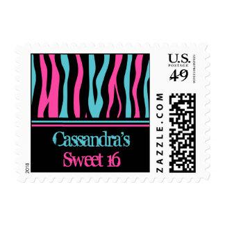 Rayas personalizadas de la cebra del dulce 16 estampillas