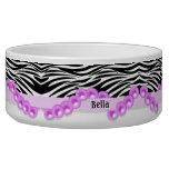 Rayas personalizadas de la cebra y perlas rosadas tazon para perro