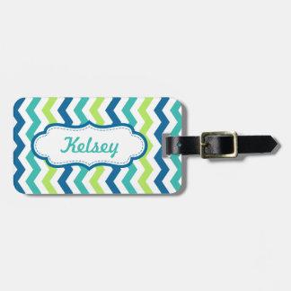 Rayas personalizadas del multicolor de la aguamari etiqueta para equipaje