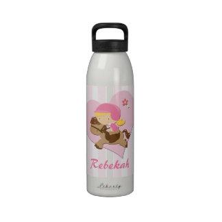 Rayas personalizadas del rosa de la equitación del botellas de agua reutilizables