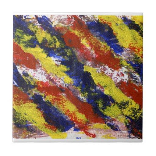 Rayas pintadas azul amarillo rojo brillante de la  azulejo ceramica