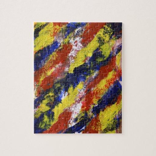 Rayas pintadas azul amarillo rojo brillante de la  rompecabeza con fotos