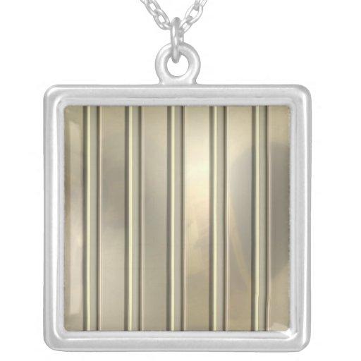 Rayas plateadas del Pin del oro Colgante Cuadrado