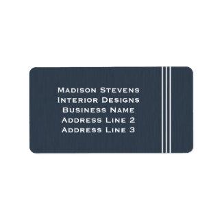 Rayas profesionales en etiqueta de dirección azul