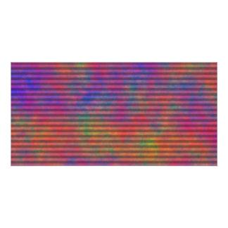 Rayas psicodélicas - extracto rayado colorido tarjeta con foto personalizada