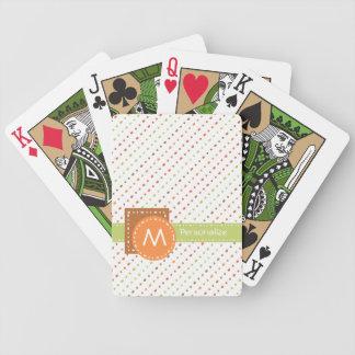 Rayas punteadas monograma de moda con nombre baraja de cartas bicycle