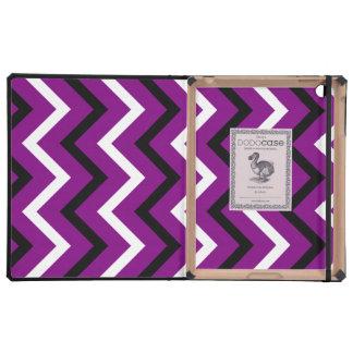 Rayas púrpuras blancos y negros de Chevron zigza iPad Cárcasas