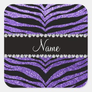 Rayas púrpuras conocidas de encargo del tigre del pegatina cuadradas personalizadas