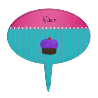 Rayas púrpuras conocidas personalizadas de la decoraciones de tartas