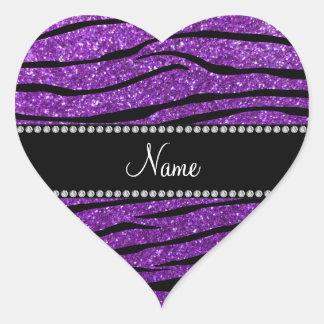 Rayas púrpuras conocidas personalizadas de la pegatina en forma de corazón