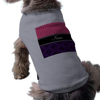 Rayas púrpuras conocidas personalizadas del rosa d ropa para mascota