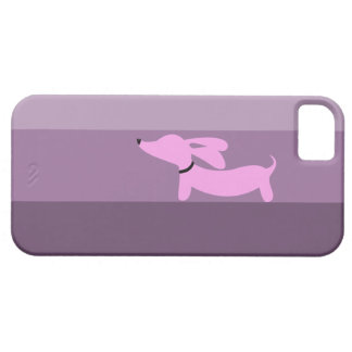 Rayas púrpuras + Dachshund rosado iPhone 5 Cárcasas