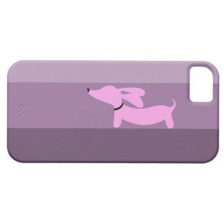 Rayas púrpuras + Dachshund rosado iPhone 5 Fundas