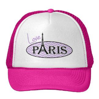 Rayas púrpuras de Chevron de la lavanda; París Gorras De Camionero