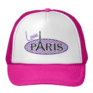 Rayas púrpuras de Chevron de la uva; París Gorras