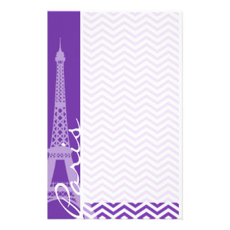 Rayas púrpuras de Chevron de la uva; París Personalized Stationery