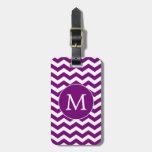 Rayas púrpuras de Chevron del monograma moderno Etiquetas Bolsas