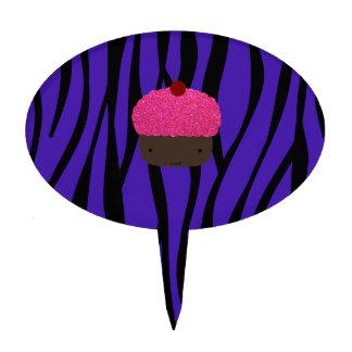 Rayas púrpuras de la cebra de la magdalena rosada  decoración de tarta