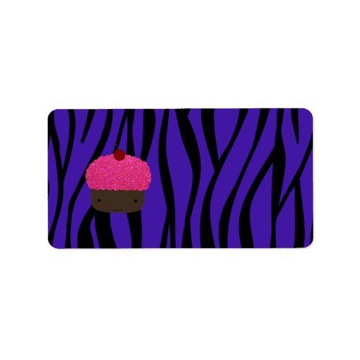 Rayas púrpuras de la cebra de la magdalena rosada  etiquetas de dirección