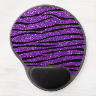 Rayas púrpuras de la cebra del brillo alfombrillas de raton con gel