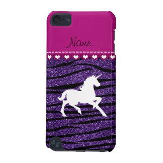 Rayas púrpuras de la cebra del brillo del funda para iPod touch 5G