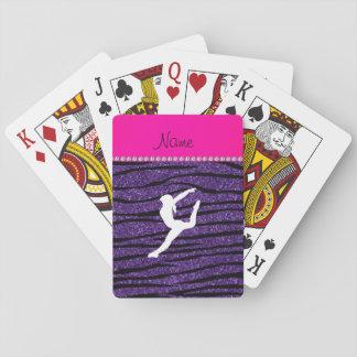 Rayas púrpuras de la cebra del brillo del gimnasta barajas de cartas