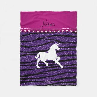 Rayas púrpuras de la cebra del brillo del manta de forro polar
