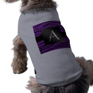 Rayas púrpuras de la cebra del brillo del playera sin mangas para perro