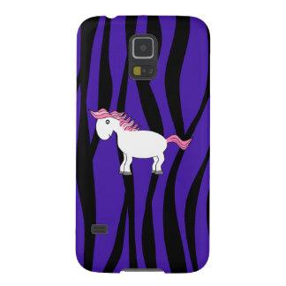 Rayas púrpuras de la cebra del caballo lindo funda para galaxy s5