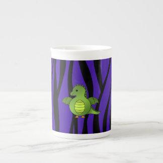 Rayas púrpuras de la cebra del dragón del bebé taza de porcelana