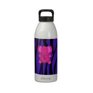 Rayas púrpuras de la cebra del elefante rosado del botellas de beber