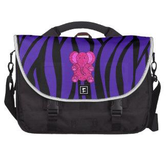 Rayas púrpuras de la cebra del elefante rosado del bolsas de portátil
