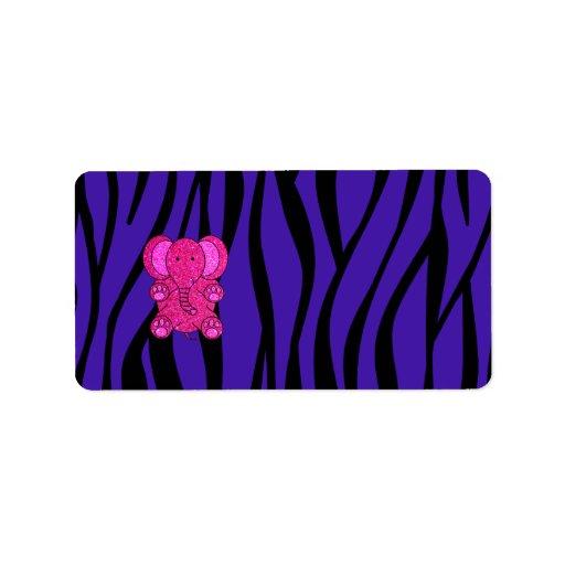 Rayas púrpuras de la cebra del elefante rosado del etiquetas de dirección