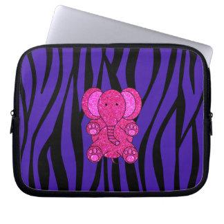 Rayas púrpuras de la cebra del elefante rosado del fundas portátiles