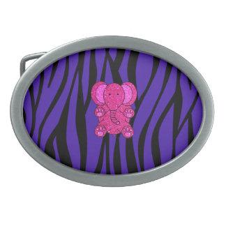 Rayas púrpuras de la cebra del elefante rosado del hebillas de cinturon