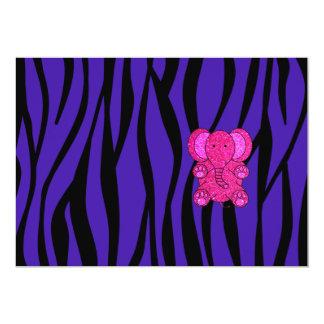 Rayas púrpuras de la cebra del elefante rosado del invitacion personal