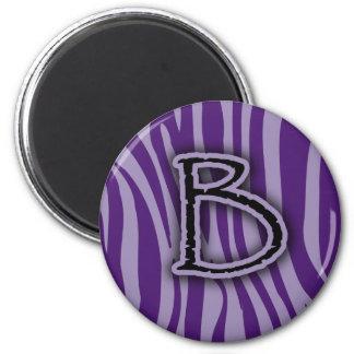 Rayas púrpuras de la cebra del monograma B Imán Redondo 5 Cm