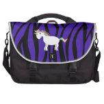 Rayas púrpuras de la cebra del unicornio bolsas de portatil