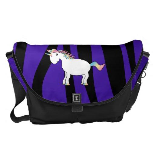 Rayas púrpuras de la cebra del unicornio bolsas messenger