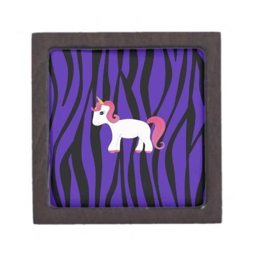 Rayas púrpuras de la cebra del unicornio cajas de regalo de calidad