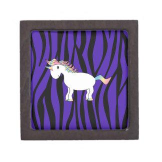 Rayas púrpuras de la cebra del unicornio caja de recuerdo de calidad